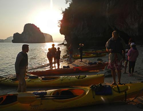 Kayaks on a Beach in Halong Bay