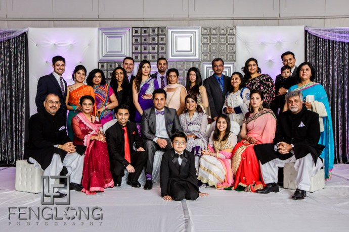Group photos during the Indian wedding reception