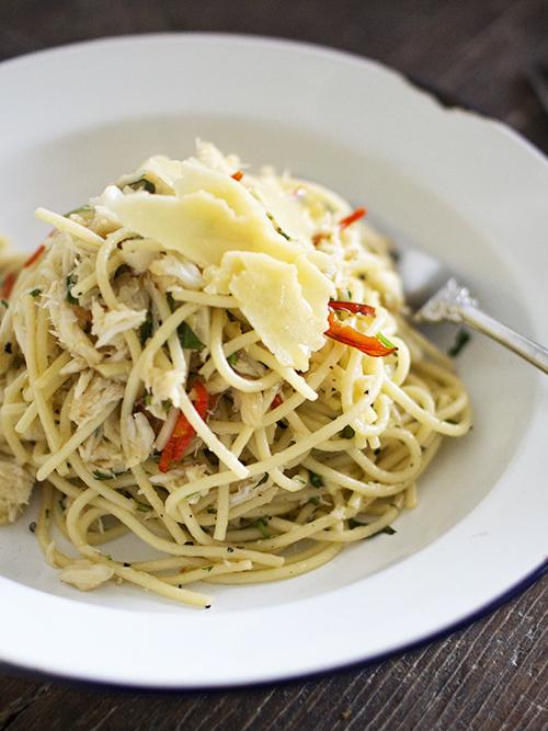 crab chilli spaghetti