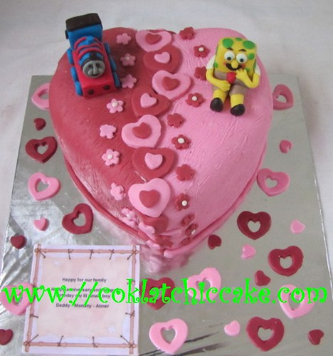 Kue ulang tahun heart, thomas dan spongebob