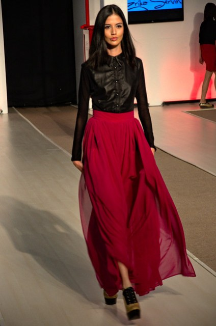 See through red long skirt - Intermoda Trends