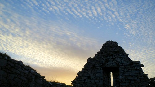Sunset over ruins