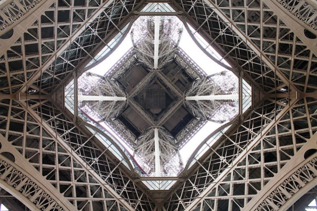 eiffel tower looking up from beneath