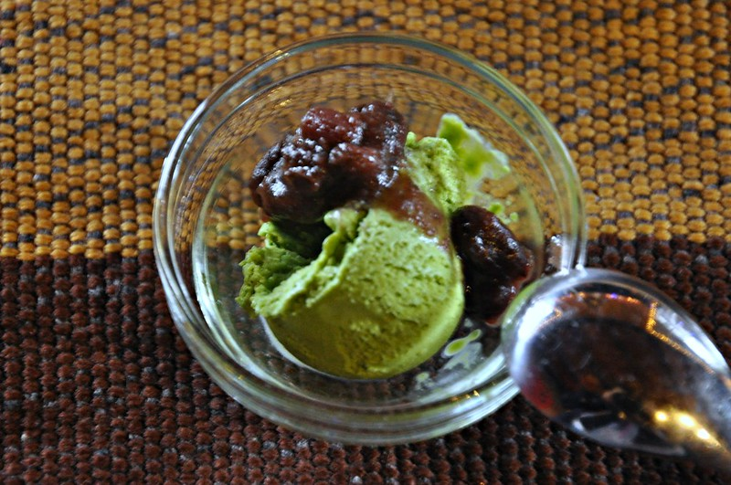 Green Tea Ice Cream with Sweetened Red Beans