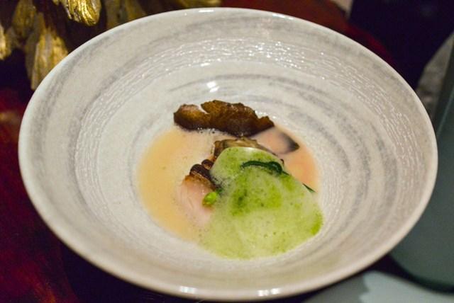 Sake Lees Soup shiokoji marinated black cod, 'syungiku' foam