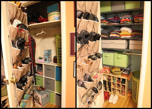 20131103. Bedroom closet before and after.