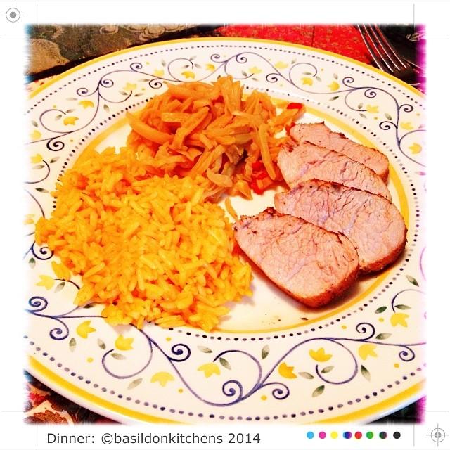28/1/2014 - dinner {while I still work, hubby is retired & makes yummy dinners!  Pork tenderloin, Spanish rice & yellow beans} #fmsphotoaday #dinner #porktenderloin #rice #yellowbeans #yummy #ilovemyhubby