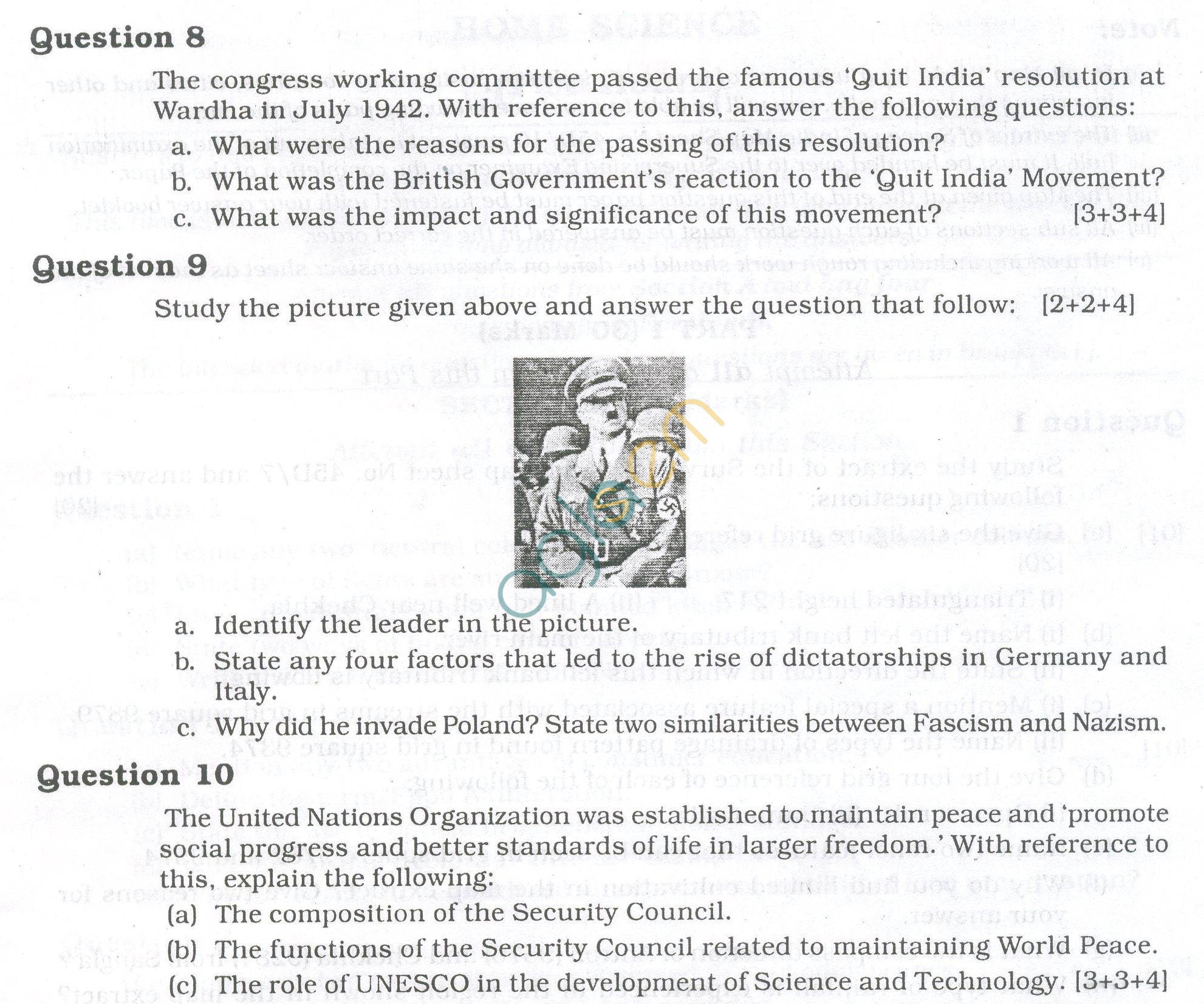 Icse Question Papers For Class 10 History Amp Civics