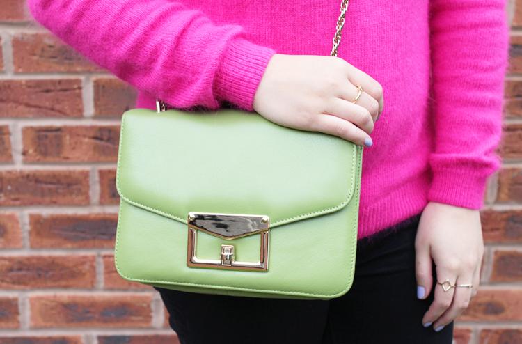 Pink and green bag close up