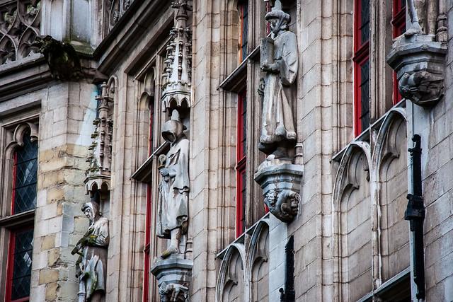 High relief sculpture adorning Bruges Burghers' Lodge