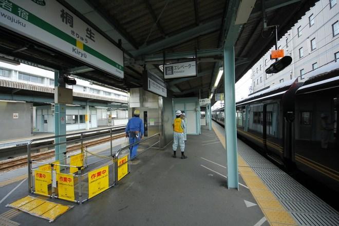 閉鎖中の桐生駅ホームエレベーター