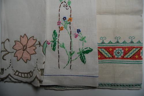 rummaged vintage kitchen towels