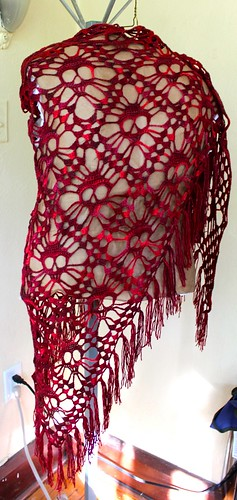 Red Merino/Silk Shawl 2 by A Dash of Noir