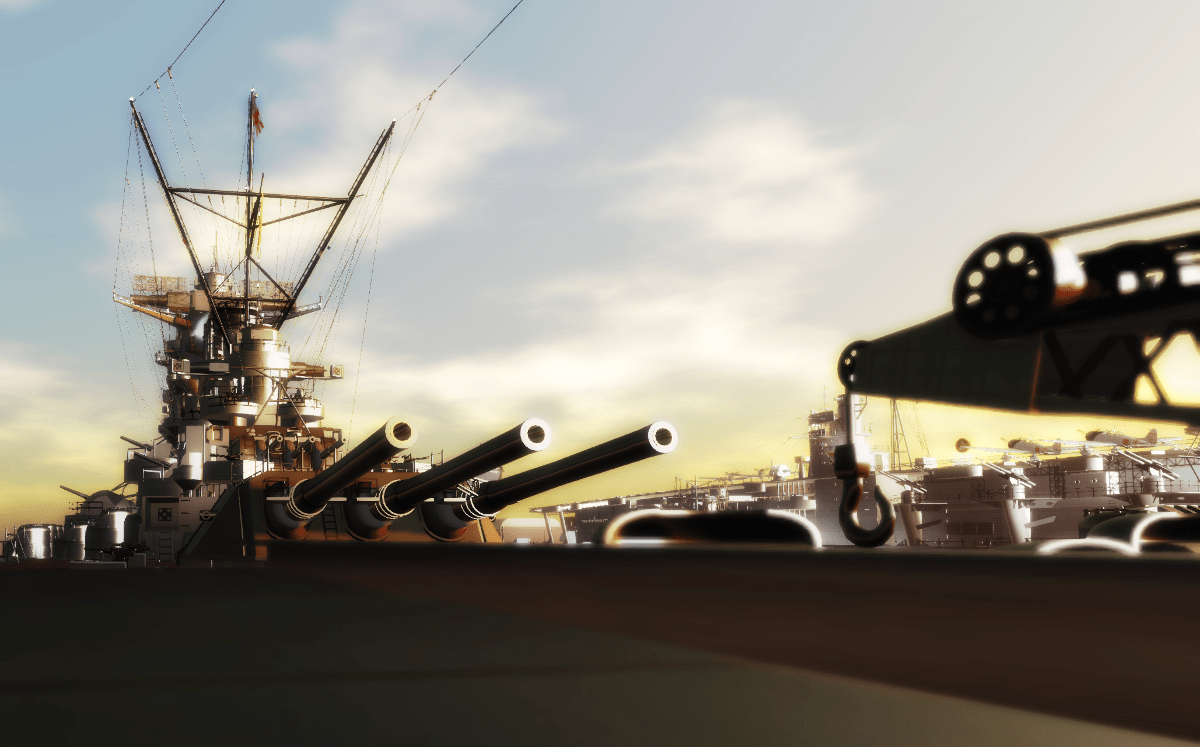 Yamato's cannons pointing backwards