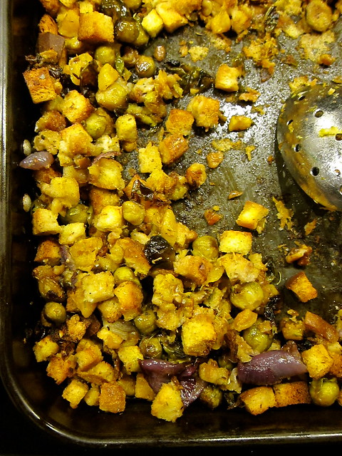 Roasted Winter Squash, Brussels Sprout and Apple Stuffing