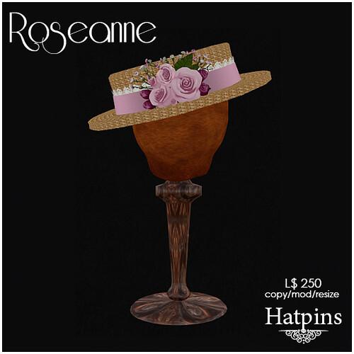 Hatpins - Roseanne Hat - Pink
