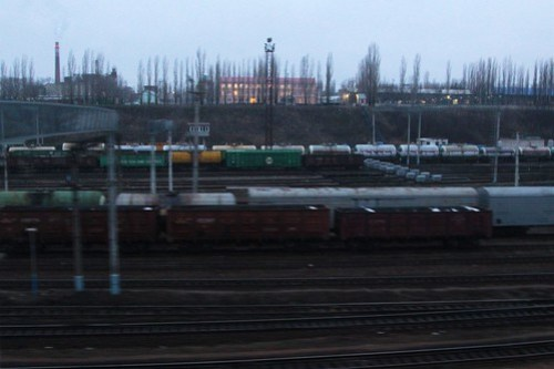 Waking up to a railway yard - passing through the Russian town of Лиски (Liski)