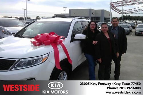 Thank you to Ramiro Valdespino on your new 2014 #Kia #Sorento from Orlando Baez and everyone at Westside Kia! #NewCarSmell by Westside KIA