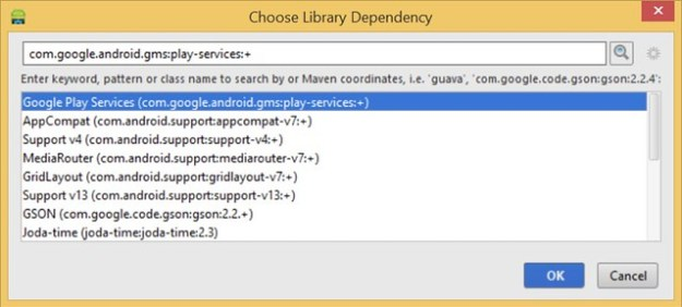 Android Studio - Choose Library Dependency