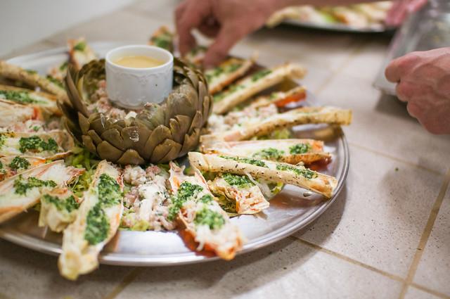 Artisjok - feta/garnaalsla - king crab - sinaasappel/framboos dressing
