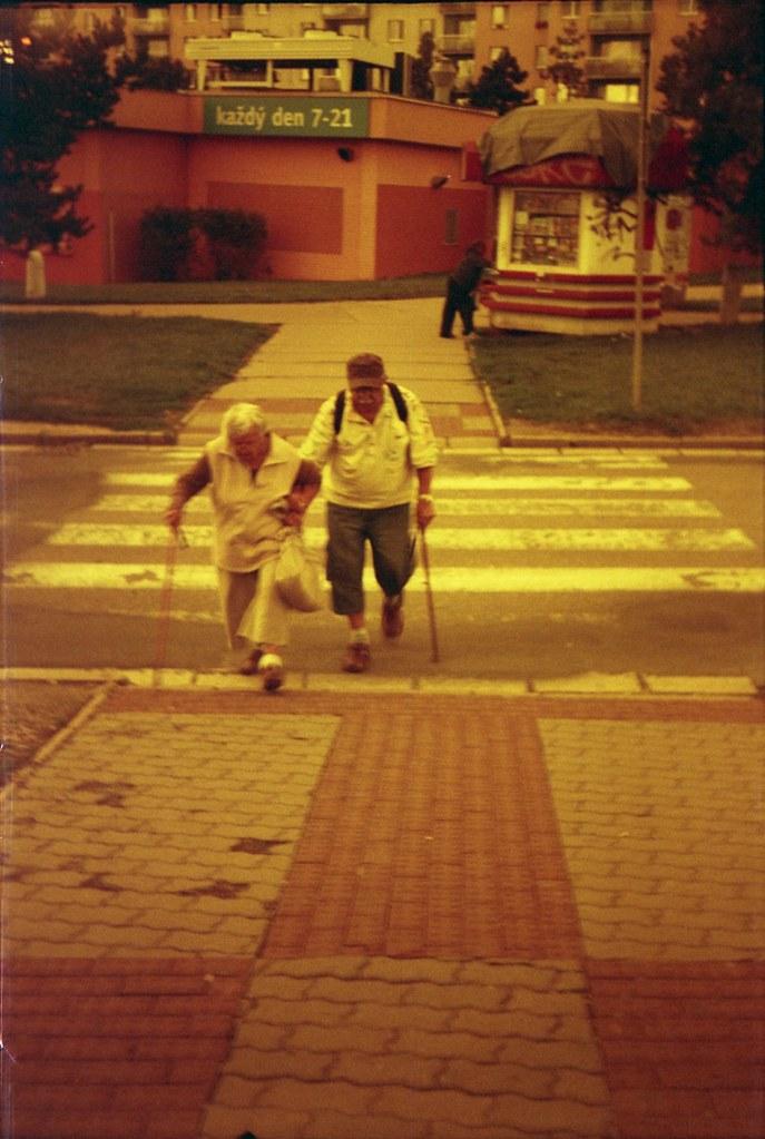 Smena 8M - Redscale - Elderly Couple on Crosswalk