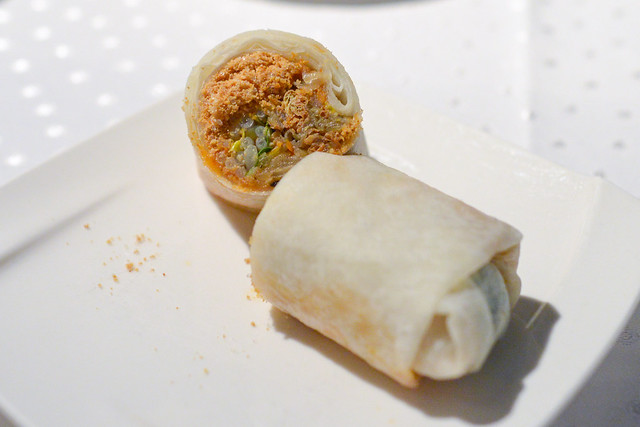 Fresh Spring Roll Filled with Cabbage, Bean Sprouts and Peanut Powder