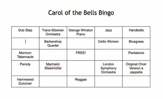 Carol of the Bells Bingo