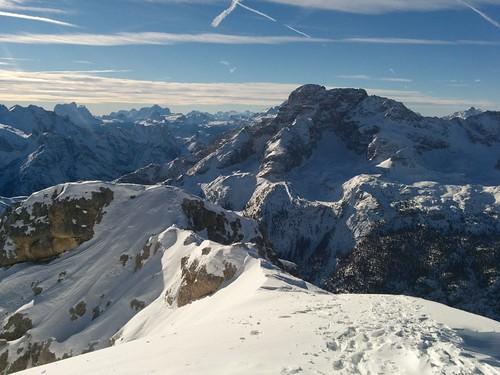 Aufstieg Dürrenstein, Blick zurück auf den schmalen Gipfelgrat