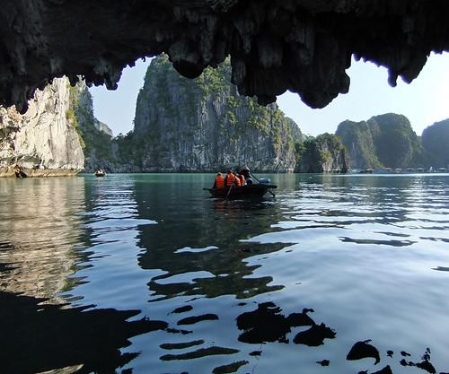 Rock overhang seen while cruising Ha Long Bay in Vietnam
