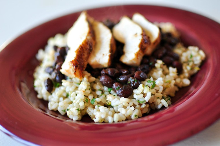 Cilantro Lime Rice and Seasoned Black Beans with Chicken 1