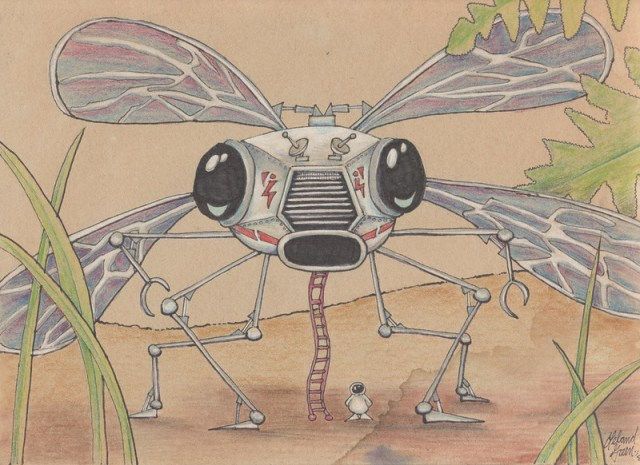 Insect Space Ship - Pastel and ink on paper - 1978