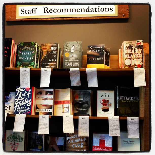 Staff recommendations at Elliott Bay Book Company.