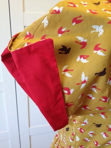 mustard bird dress sleeve