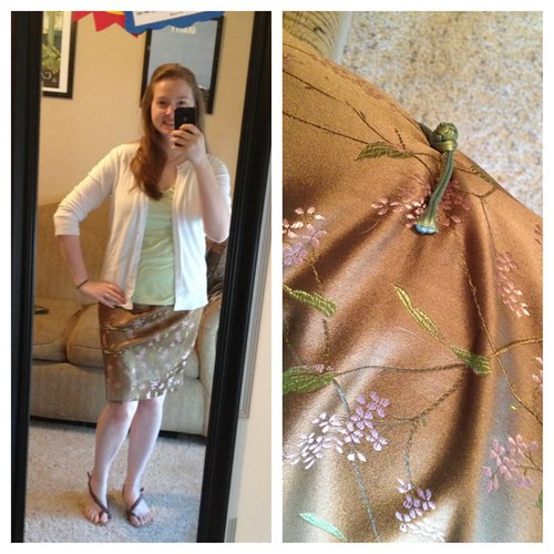 Wearing one of my skirts from Beijing for #ootd! Love the fabric, but it's surprisingly hard to find coordinating tops for it.  (All else from Target)