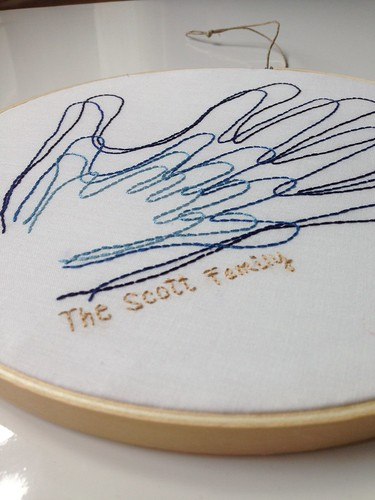 custom family handprints embroidered