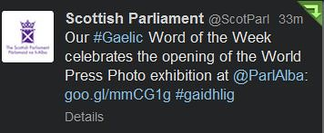 Gaelic word of the week tweet