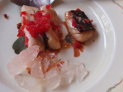 Onion glazed garfish, tomato ice