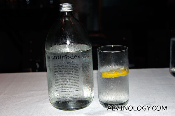 New Zealand imported Antipodes mineral water (sparkling) - S$8 for 500ml or S$12 for 1l