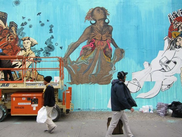 Yana Dimitrova, Swoon, and Misha Tyutyunik bombing the Bowery Wall
