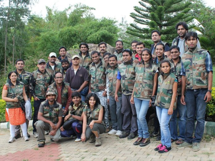 Sarath Champati with participants eco volunteer training bandipur tiger reserve