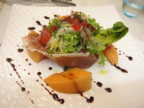 Salade de melon et jambon du Pays, vinaigrette balsamique