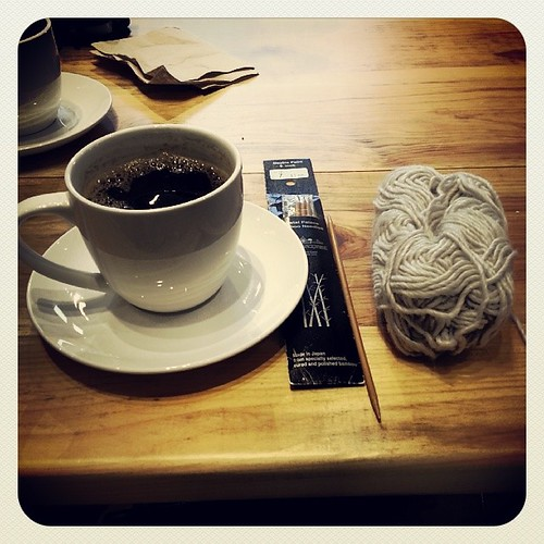 All I need in a snowy day #coffee #knitting