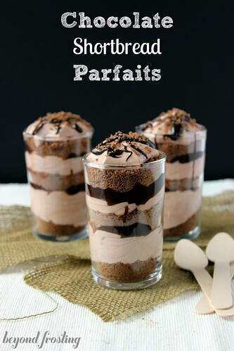 Chocolate Shortbread Parfaits with chocolate mousse and chocolate ganache. https://beyondfrosting.wordpress.com