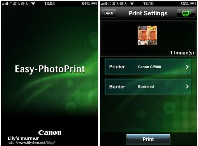 在iPhone上使用Easy-PhotoPrint手機APP就可以連到CP900將所選照片印出。