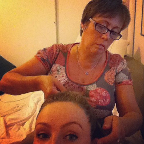My mom braiding my hair ❤