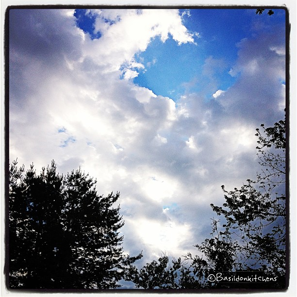 June 17 - sunlight {just peeking through the clouds early this morning; it's raining now ☔} #photoaday #sunlight #clouds #weather