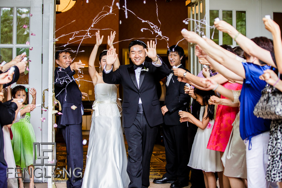 Chinese bride and groom make their exit to silly string
