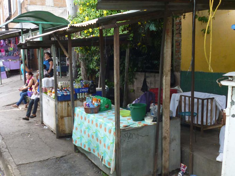 Roadside vendors' stalls