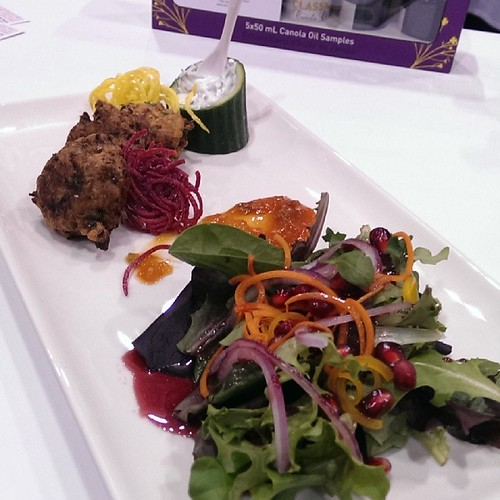 And the final dish of the competition, prepared by Assinboine College, @suzannecooks Cauliflower Fritters #rawf @tastecanada #CooksTheBooks