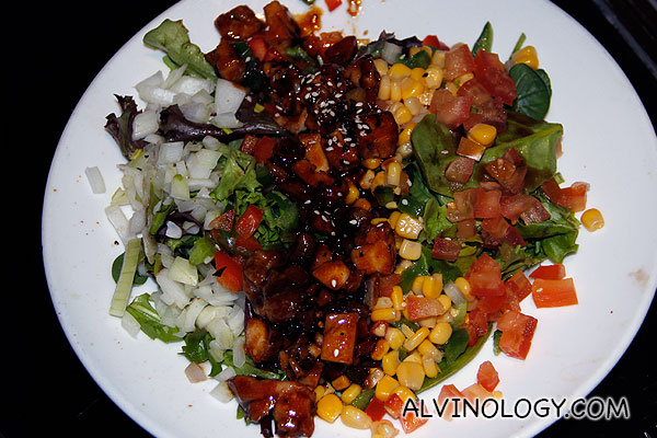 Teriyaki Chicken Salad (Fresh garden salad, grilled chicken breast meat topped with teriyaki sauce and parmesan cheese) - S$13.80